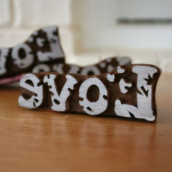 Hand Carved Woodblock Stamp - Love