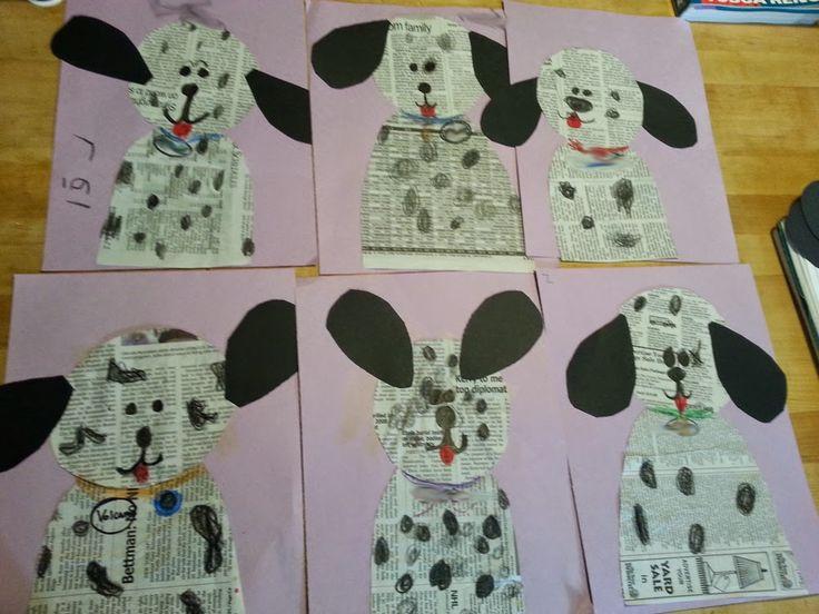 Dalmatian Dogs - Newspaper Art Project