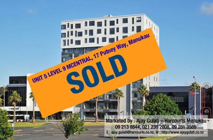 SOLD - Unit 5 Level 9 MCentral, 17 Putney Way, Manukau  Thinking of selling your property, let me know I have buyers looking for properties in South Auckland area, Call me on Ph: DDI : 09 213 8844 , W : 09 261 3565 M: 021 236 2008 or email ajay.gulati@harcourts.co.nz. Click for Free Market Appraisal : http://ajaygulati.harcourts.co.nz/Home/Selling-Your-Property/63680  ‪#‎sold‬ ‪#‎morewanted‬ ‪#‎harcourts‬ ‪#‎manukau‬ ‪#‎ajaygulati‬ ‪#‎realestate‬