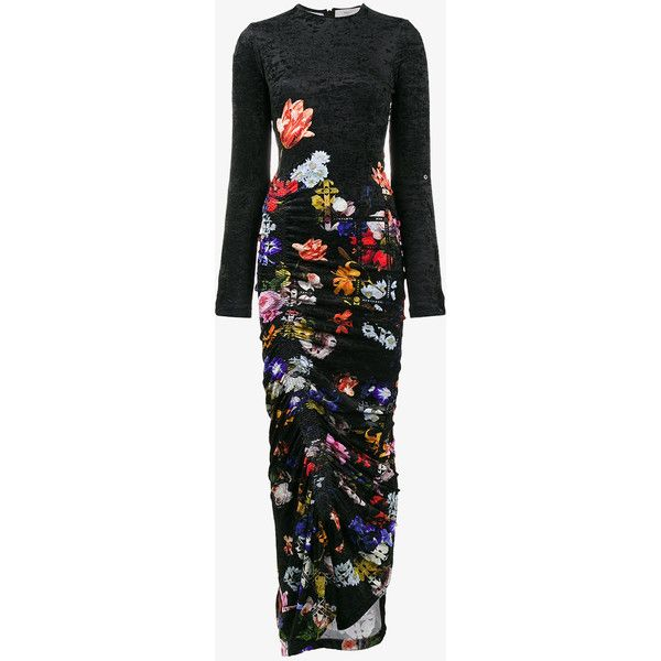 Preen By Thornton Bregazzi Velvet Ruched Floral Maxi Dress ($1,334) ❤ liked on Polyvore featuring dresses, long sleeve dress, long sleeve cold shoulder dress, cold shoulder dresses, long-sleeve velvet dresses and floral dresses