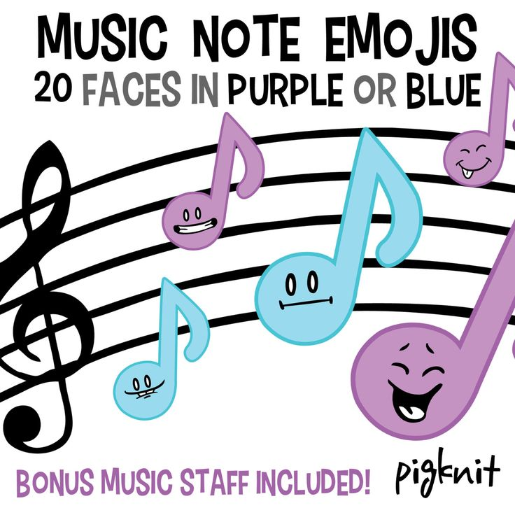 Music Note Emojis Clip Art, | Marching Band | #pigknit