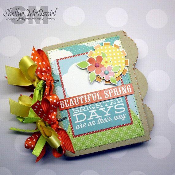 "Whimsical ""Beautiful Spring"" Tabbed Chipboard Mini Scrapbook, Photo Album, Journal, Keepsake, Echo Park Paper"