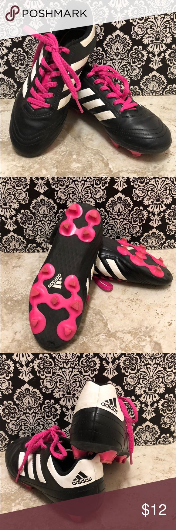 Adidas cleats for kids. Soccer shoes. Adidas cleats. Soccer shoes. Pink and black. Great condition. Size 1 1/2. Shoes Sneakers