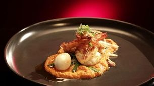Grilled King Prawns with Balado and Quail Egg