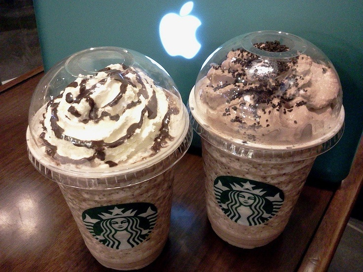 Starbucks's Double Chocolate Chip Creme Frappucino: Fill blender half full with ice. Add 4 tablespoon chocolate syrup, 4 tablespoon chocolate chips, 4 cups double-strength freshly brewed Expresso and blend until thick and still icy. Top with whipped cream and drizzle chocolate syrup over whipped cream.