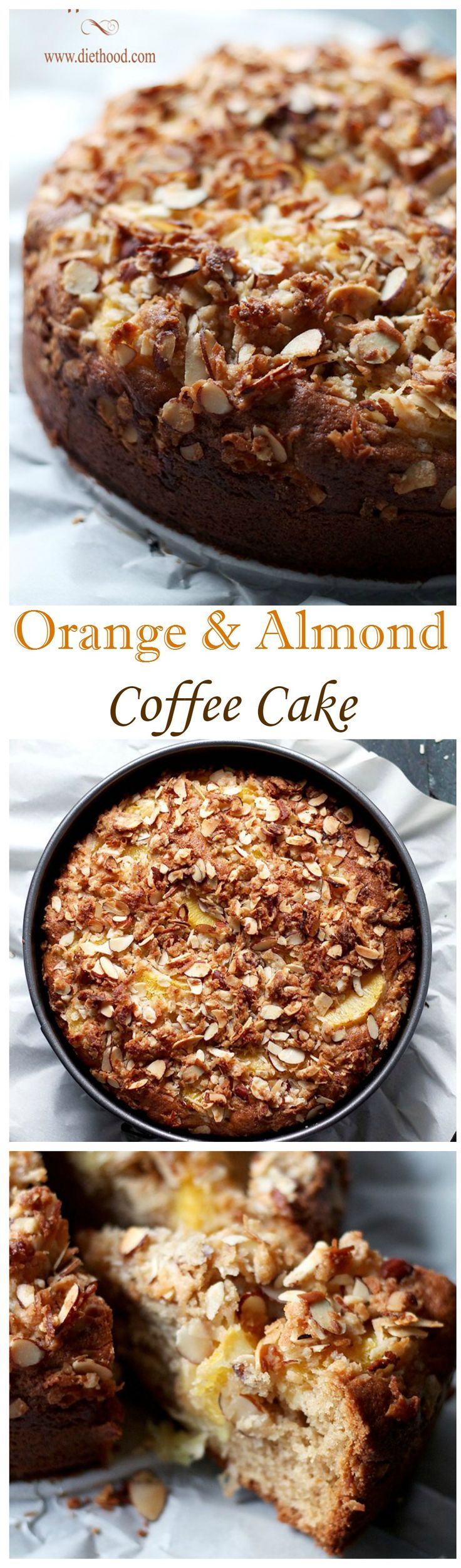 Tender, rich, citrusy and sweet Orange coffee cake topped with a delicious Almond and Coconut Streusel topping.