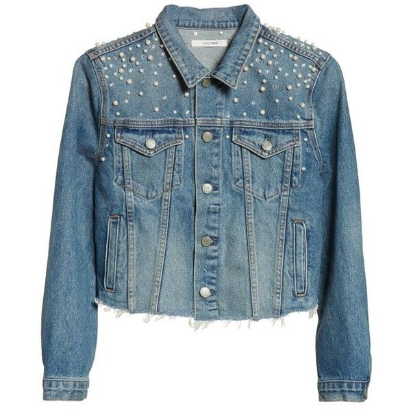 Women's Grlfrnd Faux Pearl & Crystal Embellished Crop Denim Jacket ($348) ❤ liked on Polyvore featuring outerwear, jackets, cosmic ray, blue denim jacket, denim jackets, cropped jacket, cropped jean jacket and cropped denim jacket