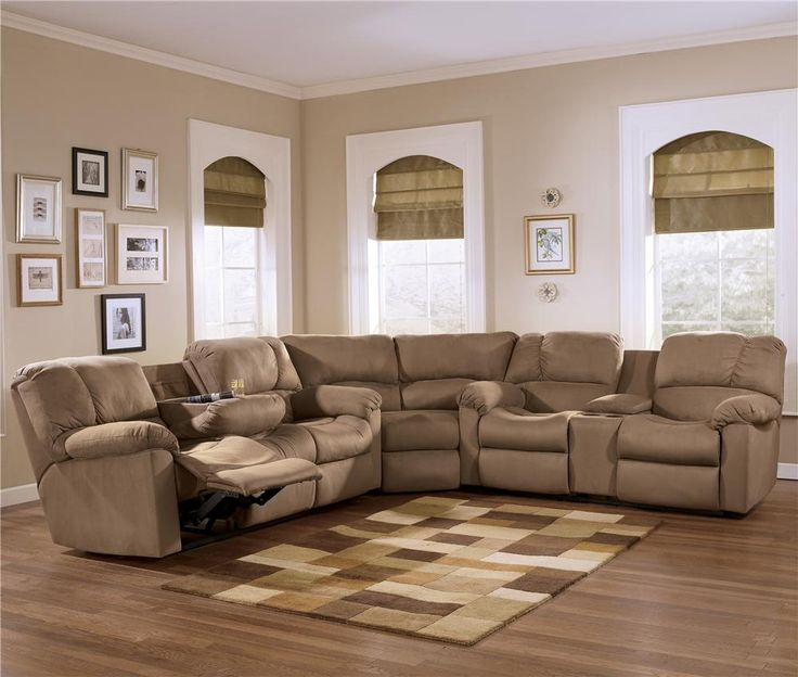 Ashley Furniture Cary Nc: Cocoa Reclining Sectional Sofa Group With Pillow