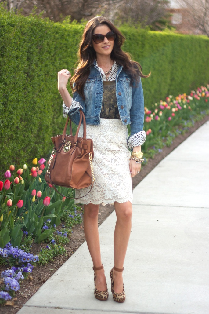 cream lace skirt navy sequin top jean jacket blue button down