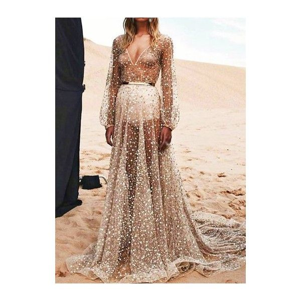 Rotita Long Sleeve Semi Sheer Sequin Decorated Maxi Dress ($23) ❤ liked on Polyvore featuring dresses, gowns, silver, long sleeve sequin gown, sexy gowns, long sleeve maxi dress, sequin gown and sexy evening gowns
