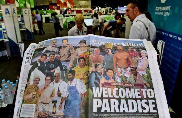 Menyambut KTT G-20, koran lokal Australia The Courier Mail membuat cover para pemimpin negara sedang pesta barbeque dan Jokowi sebagai juru masak.