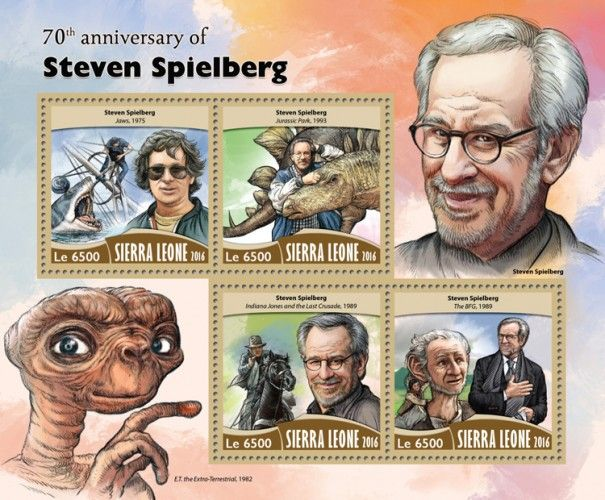"SRL16711a 70th anniversary of Steven Spielberg (Steven Spielberg ""Jaws"", 1975; ""Jurassic Park"", 1993; ""Indiana Jones and the Last Crusade"", 1989; ""The BFG"", 1989)"