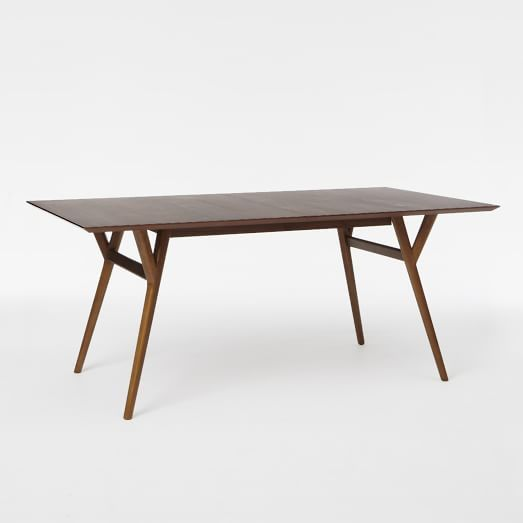 Mid-Century Expandable Dining Table | west elm 3 sizes, $560 med 60-80,$800 up to 10 large 72-92
