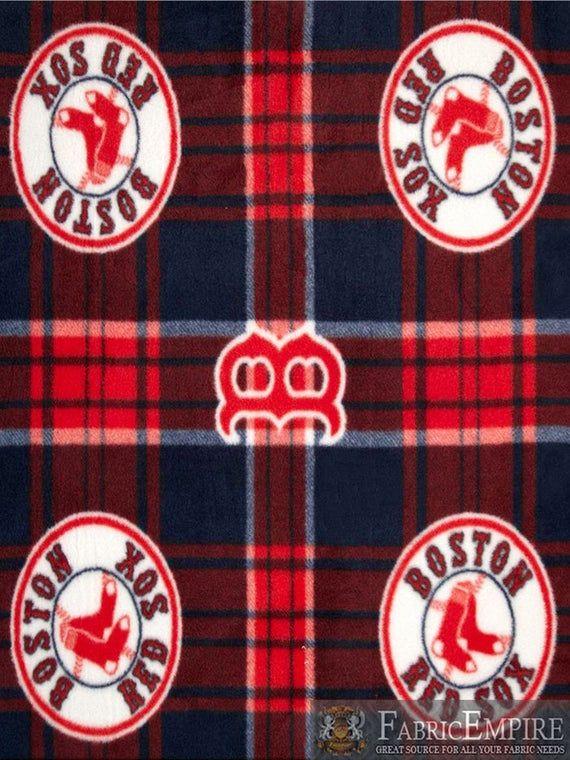 Mlb Boston Red Sox Plaid Licensed Fleece Fabric Red Fabric