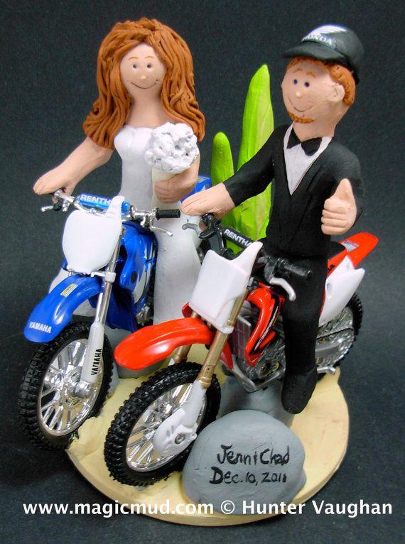 Desert Dirt Bike Motorcycle Wedding Cake Topper    KTM, Honda, Suzuki, Yamaha, Kawasaki, BMW….any model of dirt bike can be incorporated into your off road motorcycle wedding cake topper, custom created just for your wedding     $235   #magicmud   1 800 231 9814   www.magicmud.com