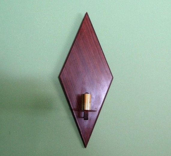Brown Candle Holder Sconce diamond shape by VickiesVintageroom