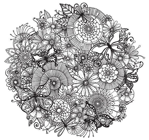 flower detailed coloring pages - photo#18