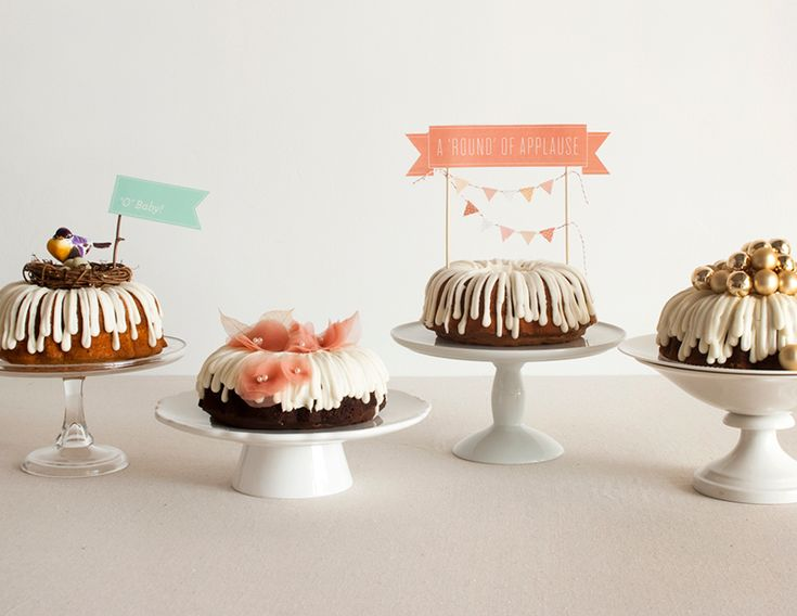Fun assortment of bundt cakes - great alternative for a wedding!