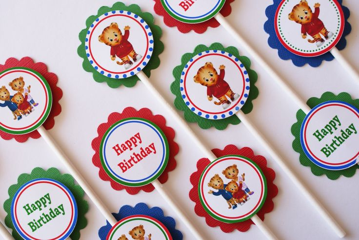 Daniel Tiger Birthday Cupcake Toppers - Ready to Ship - Set of 12. $6.75, via Etsy.