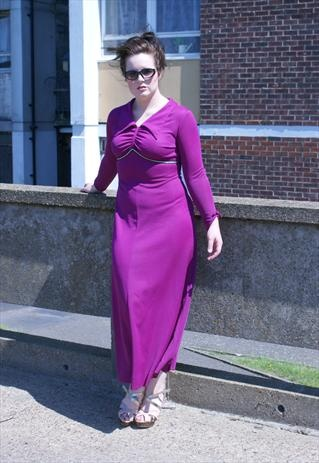 1970s pink purple Maxi Dress with lovely detail. Size 12