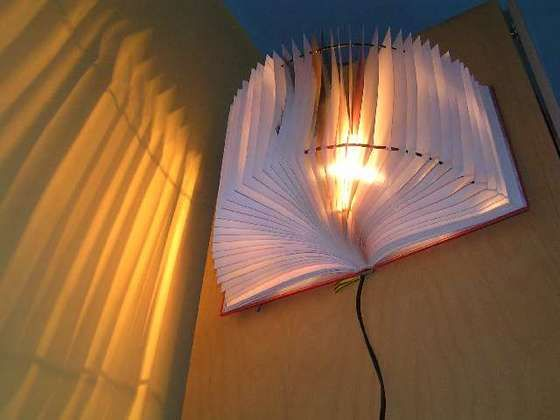 Light up your world.Lamps Shad, Old Book, Wall Lamps, Lampshades, Night Lights, Wall Sconces, Lights Ideas, Recycle Book, Book Lamps