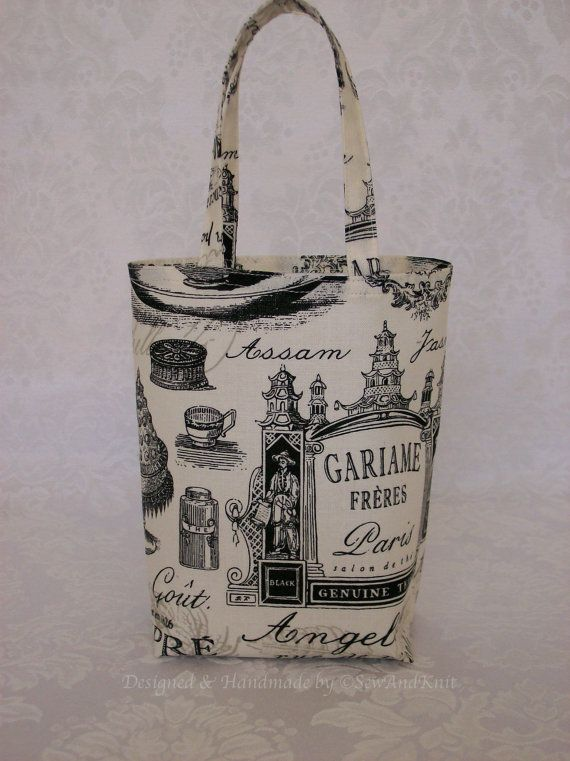 small gift bag in black toile paris inspired cotton fabric gifts the o 39 jays and bags. Black Bedroom Furniture Sets. Home Design Ideas