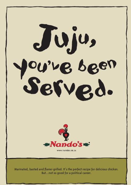 Eight of our favourite, cheeky Nando's posters to date [pictures] SA's best-loved tongue-in-cheek eatery has had a few gems over the years, but none better – and at times kinkier – than these.  http://www.thesouthafrican.com/seven-of-our-favourite-cheeky-nandos-posters-to-date-pictures/