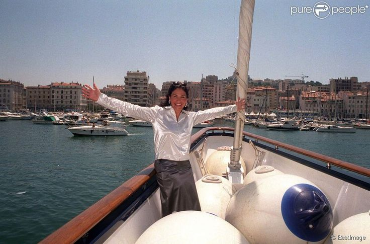 Mouna Ayoub on board of the Phocéa at Marseille, 11 July 1999.