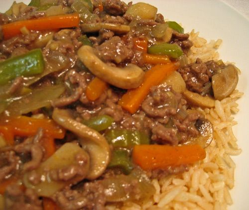 Stir-Fried Ground Beef and Mushrooms, serve over rice or chow mein noodles; quick, easy and economical