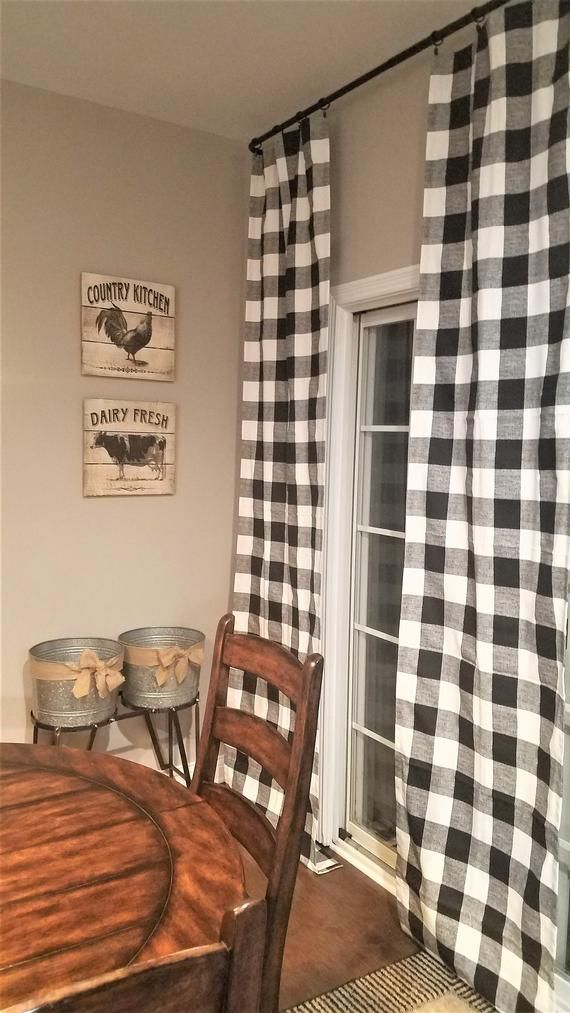 Black And White Buffalo Check Curtains Rod Pocket Options Etsy Home Buffalo Check Curtains Check Curtains