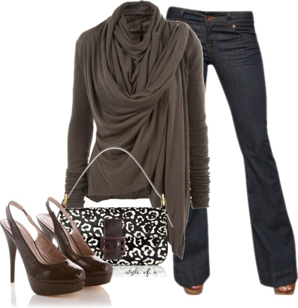 """Brown Draped Top"" by styleofe on Polyvore"