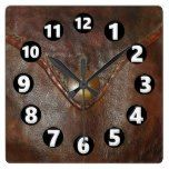 11002, Leather, Western, Brown, Button, Print Square Wall Clock  #11002 #Brown+ #Button #Clock #leather #Print #RusticClock #Square #Wall #western The Rustic Clock