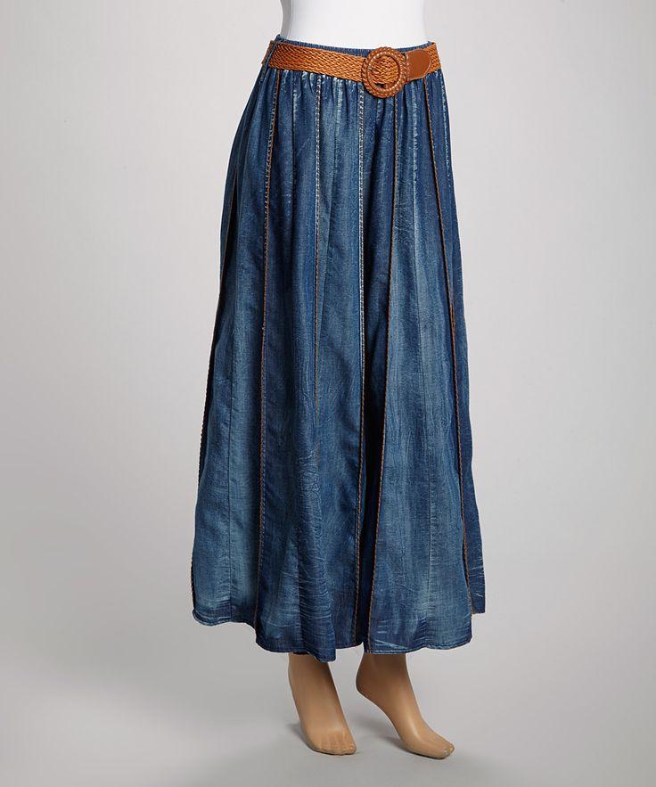 Look what I found on #zulily! Blue Dark Wash Pleated Belted Denim Skirt - Plus by Miss Maxi #zulilyfinds