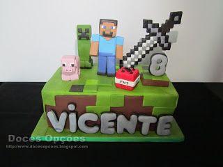Doces Opções: Um bolo Minecraft para o 8º aniversário do Vicente...