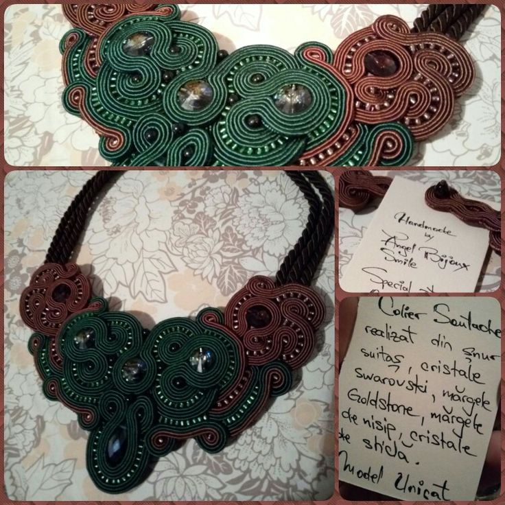#green #brown #soutache #necklace