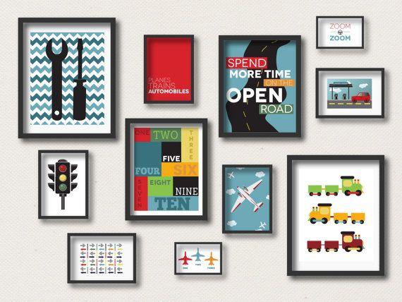 Transportation Gallery Wall, Boy Nursery Prints, Car Nursery Decor, Airplane Nursery, Train Bedroom, Boy Bedroom, Digital Nursery Prints
