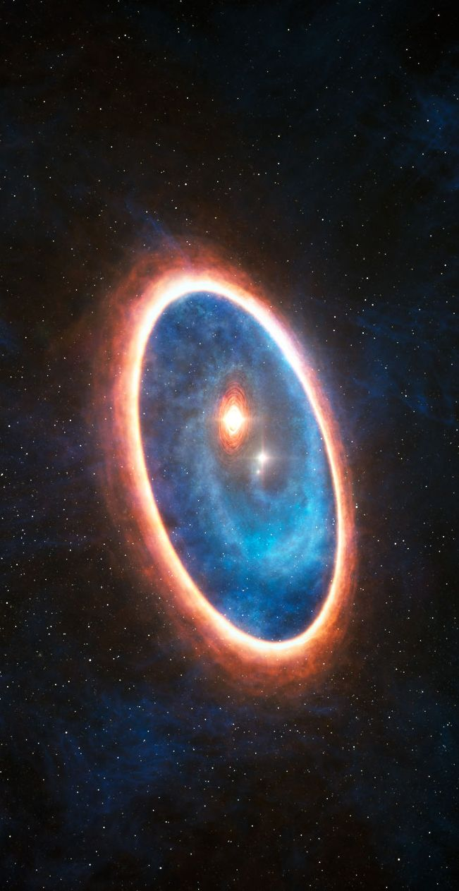 For the first time, researchers have detected a streamer of gas flowing from a massive outer disc toward the inner reaches of a binary star system. This never-before-seen feature may be responsible for sustaining a second, smaller disc of planet-forming material that otherwise would have disappeared long ago. Half of Sun-like stars are born in binary systems, meaning that these findings will have major consequences for the hunt for exoplanets. (ESO)