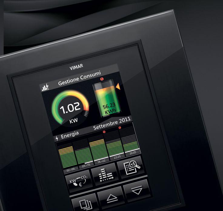 La serie civile Eikon e la domotica di Vimar. Touch screen Eikon in cristallo con la funzione di monitoraggio del profilo energetico della casa e gestione delle produzione o consumi complessivi dell'intera abitazione.