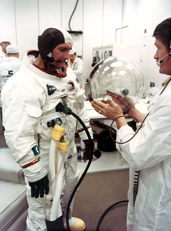 November 14, 1969 — Apollo 12 astronauts Dick Gordon, Alan Bean, and Pete Conrad suit-up a 10-day odyssey to the Moon and back. (NASA)