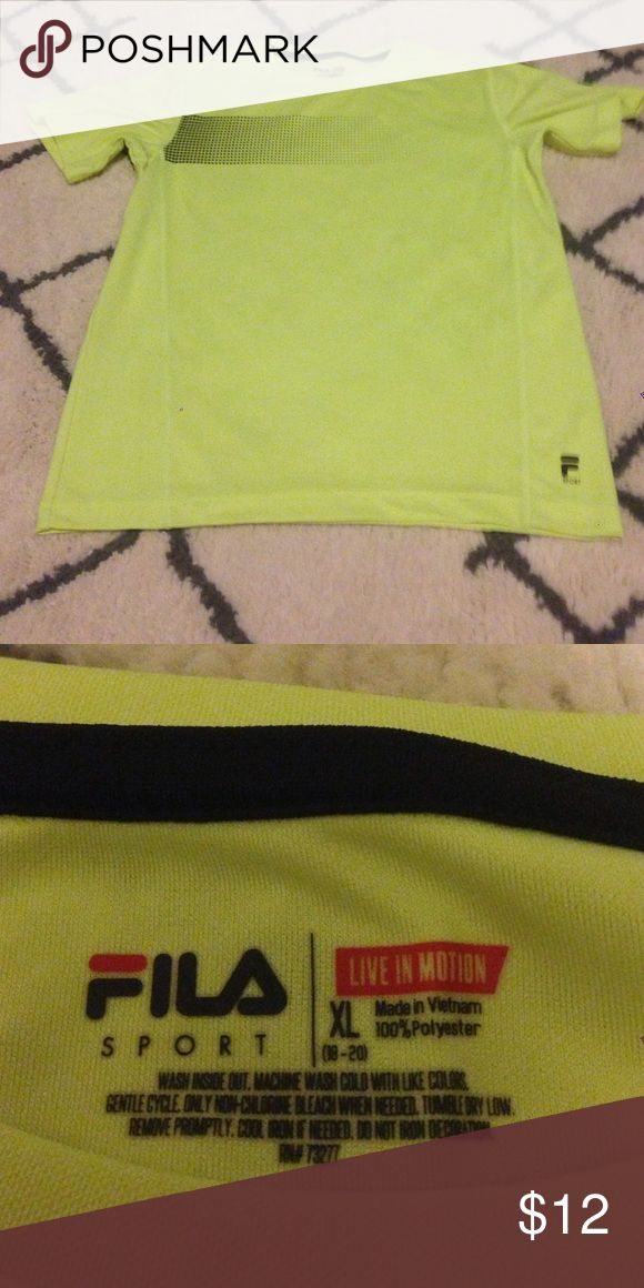 Boys Sport Top Boys Sport Top•EUC•No flaws•Size XL•Neon yellow•Any questions just ask! Fila Shirts & Tops Tees - Short Sleeve