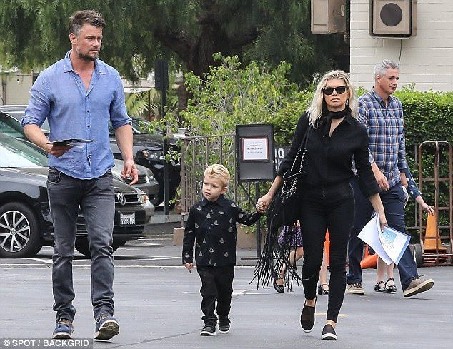 The family that prays together......: Fergie and Josh Duhamel were spotted taking their son Axl, three, to church on Sunday in Los Angeles