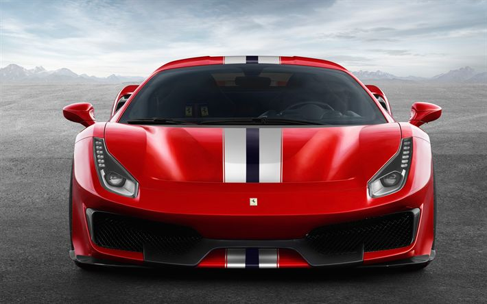 Download wallpapers Ferrari 488 Pista, 4k, front view, 2018 cars, supercars, new 488, Ferrari