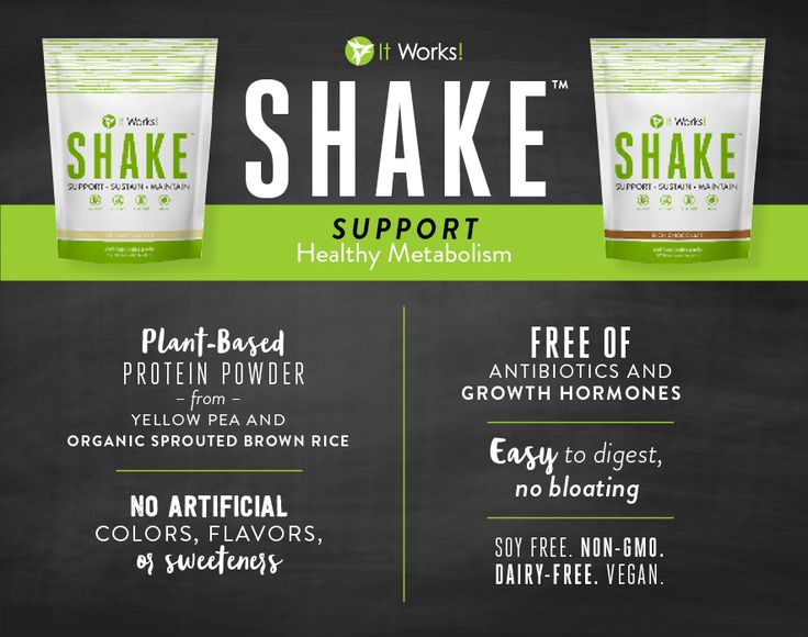 "SUPPORT your healthy metabolism with It Works! Shake! & because ""more"" isn't always better, you can rest easy knowing Shake is: ✅ Soy Free ✅ Non- GMO ✅ Dairy Free ✅ Vegan"