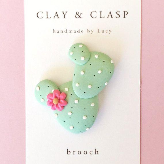 Broche de cactus joyas de arcilla de polímero por ClayandClasp