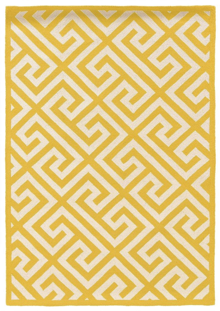 HandHooked Yellow/Ivory Area Rug 인테리어