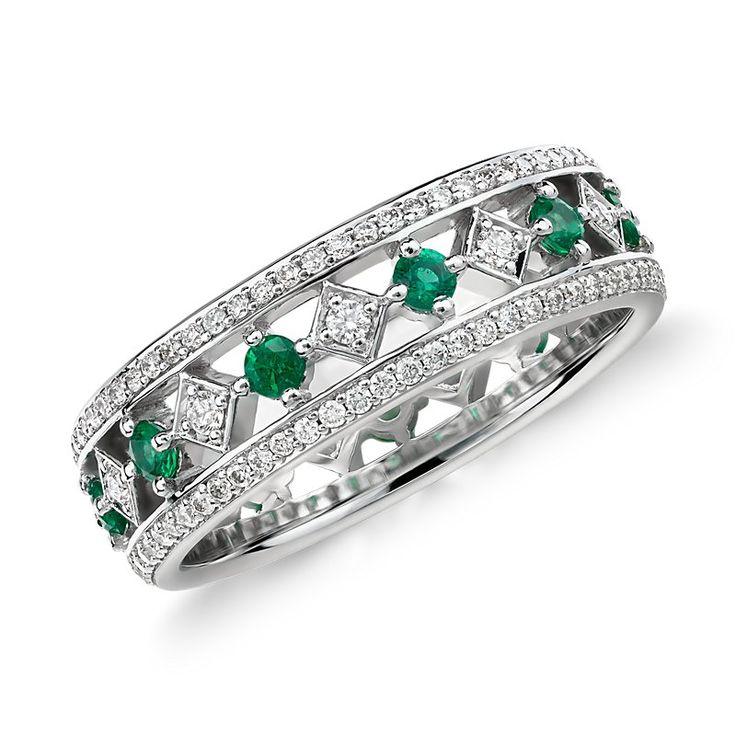 Gala Emerald and Diamond Eternity Ring 18k White Gold, Women's, White Gold Diamond emerald