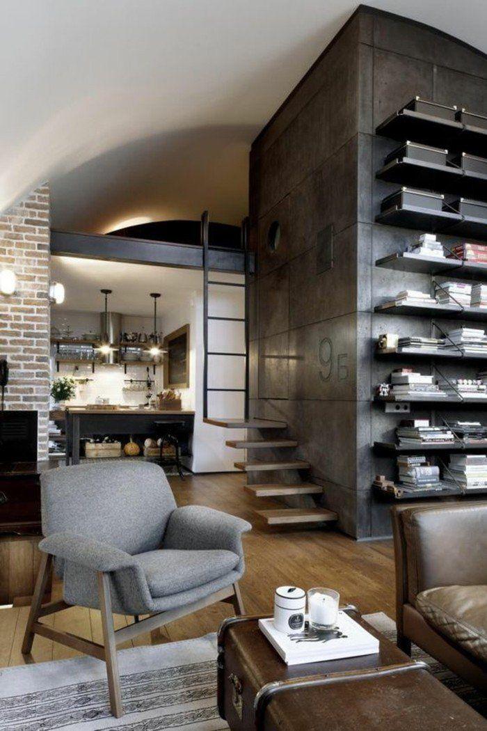 amenagement style industriel, sol en parquet clair, idee deco salon, parquet teck clair