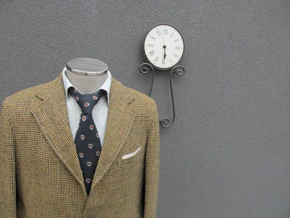 1940s Vintage HARRIS TWEED Olive Sack Jacket 42T Tall 42 Long