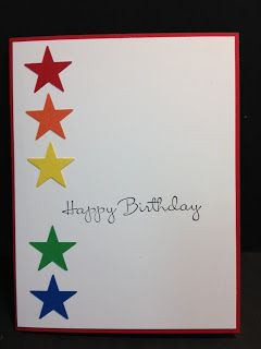 Stars Birthday Card   Stampin' Up! Simple but effective! Could be shades of similar colours, hearts, squares, scallops etc