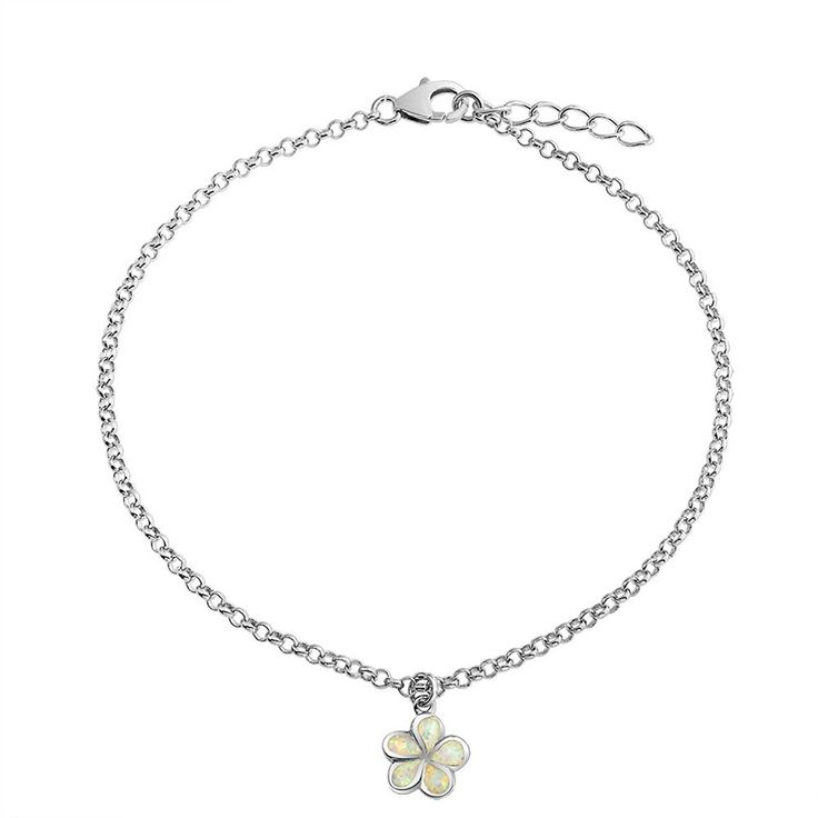 Bling Jewelry Synthetic White Opal Inlay Plumeria Flower Anklet Ankle Bracelet 925 Silver >>> More info could be found at the image url.
